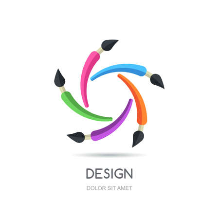 Studio logo: Vector looped creative logo design template. Five multicolor brush infinity flat icon. Abstract concept for business, design, graphic, drawing, stationery, school and education.