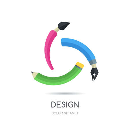 pens: Vector looped creative logo design template. Multicolor symbol of pen, pencil and brush, infinity flat icon. Abstract concept for business, design, graphic, drawing, stationery, school and education.