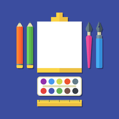art pen: Creative flat illustration of tools, art supplies for design, drawing, painting. Vector icon set of pen, pencil, brush, paints, ruler, White sheet of paper on easel. Concept for stationery, school.