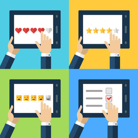 customer survey: Vector set of flat computer icons. Concept for customer service, support, review, feedback, like. Mens hand holding tablet and placing rating. Internet technology illustration.