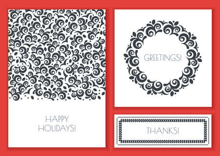 black and white: Set of vector floral greeting cards template. Vintage decorative seamless background and frame. Black, white colors illustration. Concept for flyer, wedding invitation, banner design. Illustration