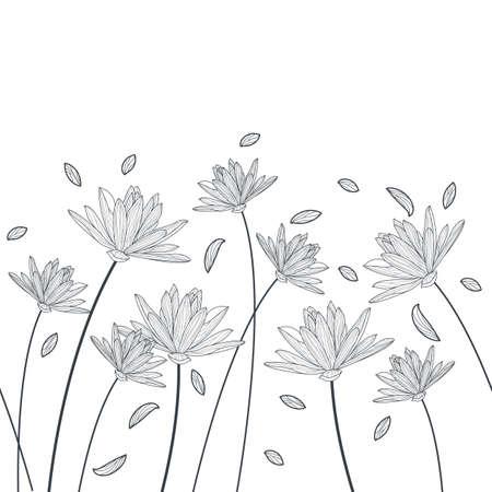 Vector bloemen naadloos horizontaal patroon. Zwart-wit elegante achtergrond met de hand getekende lotus en lelie bloemen. Ontwerp voor schoonheidssalon, spa, flyer, uitnodiging, banner ontwerp.