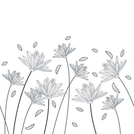 Vector floral seamless horizontal pattern. Black and white elegant background with hand drawn lotus and lily flowers. Design for beauty salon, spa, flyer, invitation, banner design.