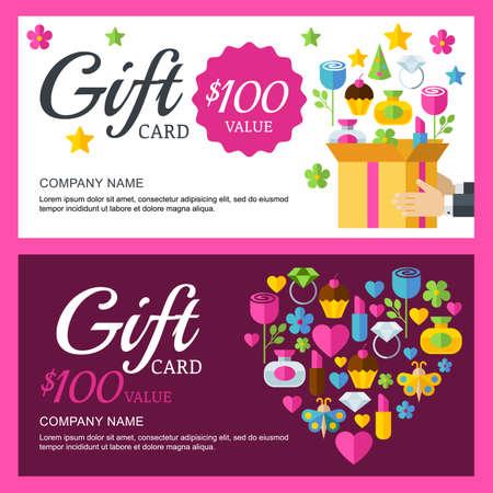 Vector waardebon achtergrond sjabloon. Doos met kleurrijke geschenken, flat illustratie. Ontwerp voor boutique, juwelen, mode winkel, Valentijnsdag wenskaart, flyer, banner ontwerp.