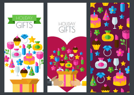holiday gifts: Set of vector holiday banner backgrounds, seamless pattern. Box with gifts in hands, flat illustration. Design for boutique, jewelry, fashion shop, Valentine`s Day greeting card, flyer, banner design. Illustration