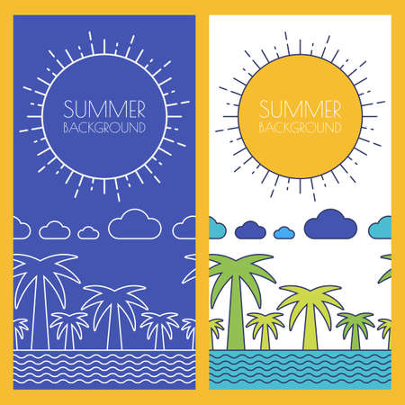 beach panorama: Vector summer beach, banner with place for text. Flat linear illustration of palm, ocean, sea, clouds and sun. Horizontal seamless nature background. Concept for hotel, resort, travel agency. Illustration