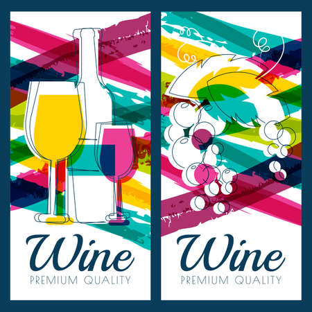 Vector illustration of wine bottle, glass, branch of grape and colorful watercolor stripes background. Concept for wine list, label, banner, menu, flyer, brochure design template.