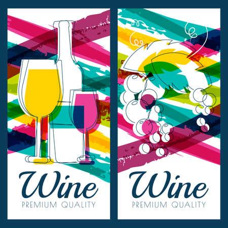 Vector illustratie van fles wijn, glas, tak van de druif en kleurrijke aquarel strepen achtergrond. Concept voor wijnkaart, etiket, banner, menu, flyer, brochure design template.