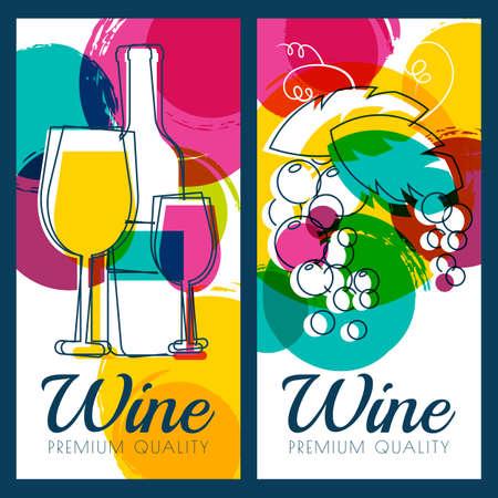 Vector illustratie van wijn fles, glas, tak van de druif en kleurrijke aquarel vlekken achtergrond. Concept voor de wijnkaart, etiket, banner, menu, flyer, brochure design template. Vector Illustratie