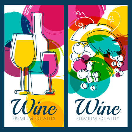 wine label design: Vector illustration of wine bottle, glass, branch of grape and colorful watercolor blots background. Concept for wine list, label, banner, menu, flyer, brochure design template. Illustration