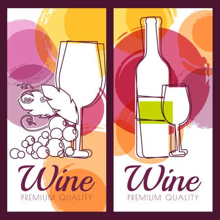 bodegas: Ilustración del vector de botella, el cristal, la rama de uva y manchas de colores de acuarela de fondo. Concepto para la carta de vinos, etiqueta, bandera, menú, aviador, plantilla de diseño del folleto.