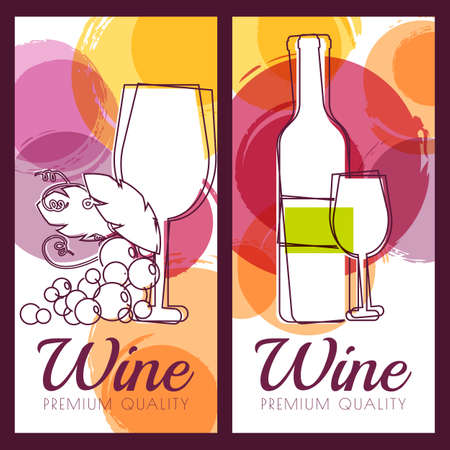 Vector illustration of wine bottle, glass, branch of grape and colorful watercolor spots background. Concept for wine list, label, banner, menu, flyer, brochure design template.