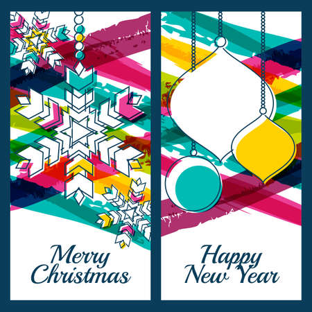new year greeting: Vector illustration of snowflake, fir tree toys, baubles and colorful watercolor stripes background. Design for Christmas, New Year greeting card, invitation, label, banner, flyer, poster template.