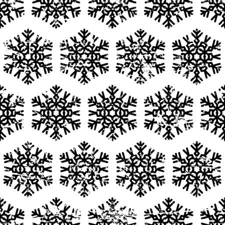 white background'abstract: Hand drawn vector seamless pattern with black snowflakes isolated on white background. Abstract grunge texture.