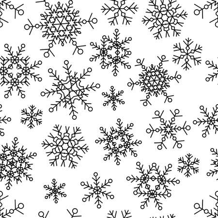 copo de nieve: Modelo inconsútil del vector con los copos de nieve lineales simples. Hipster, ilustración, diseño en blanco y negro. Fondo de vacaciones de invierno.