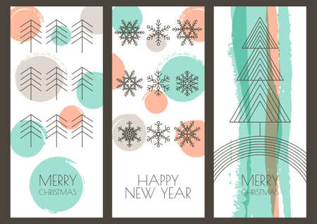 Set of vector hand drawn Christmas, New Year greeting cards. Linear illustration of snowflakes, fir tree and watercolor background. Hipster style design for winter holiday, flyer, invitation, banner. Illustration