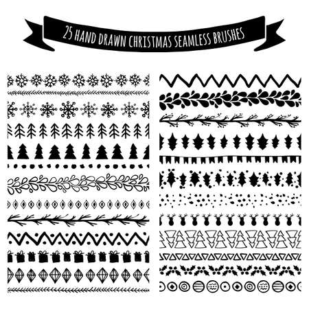 white backgrounds: Set of doodle hand drawn seamless brushes, borders, dividers isolated on white background. Christmas, New Year holiday decor elements. Tribal trendy pattern. All brushes are included in brush palette.