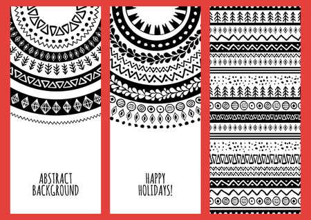 tribales: Conjunto de banderas del vector de moda con el dibujado a mano del doodle del ornamento de fondo.