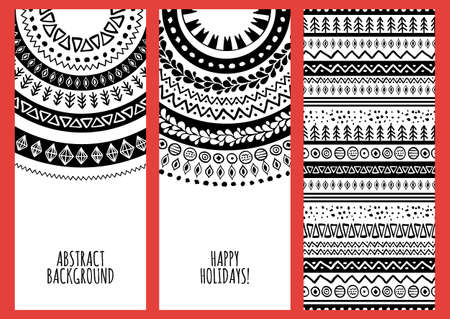 tribal: Set of vector trendy banners with hand drawn doodle ornament background.  Illustration