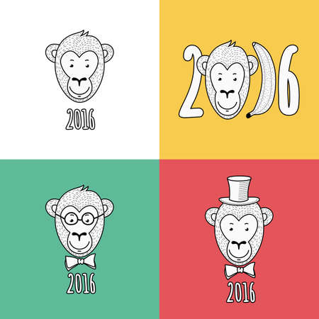 monkey face: Set of vector New Year 2016 greeting cards. Hand drawn linear portrait of cute smiling monkey in hat, glasses and bow tie. T-shirt print design illustration. Illustration