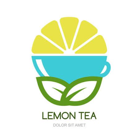 tea plantation: Abstract vector logo design template. Green tea with lemon, natural herbal drink.  Concept for bar menu, tea shop, cafe, organic product.