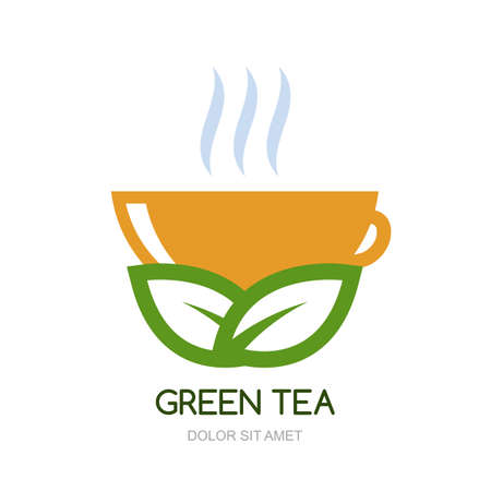 for tea: Abstract vector logo design template. Green hot tea in orange cup, natural herbal drink. Concept for bar menu, tea shop, cafe, organic product.