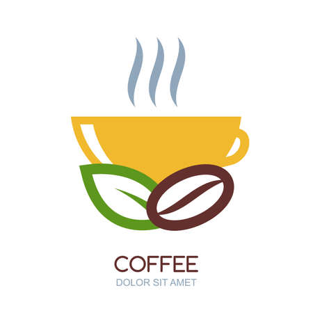 Abstract vector logo design template. Illustration of hot coffee in cup, green leaf and coffee bean. Natural drink. Concept for bar menu, coffee shop, cafe, organic product. Ilustração