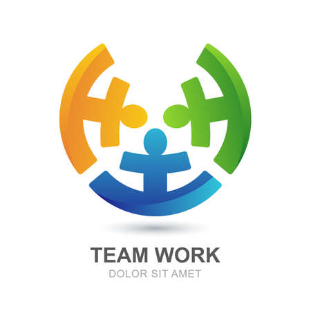 work team: Abstract multicolor people silhouette in circle shape. Vector looped creative logo design template. Concept for social network, team work, partnership, friends, business, motivation, playing kids.