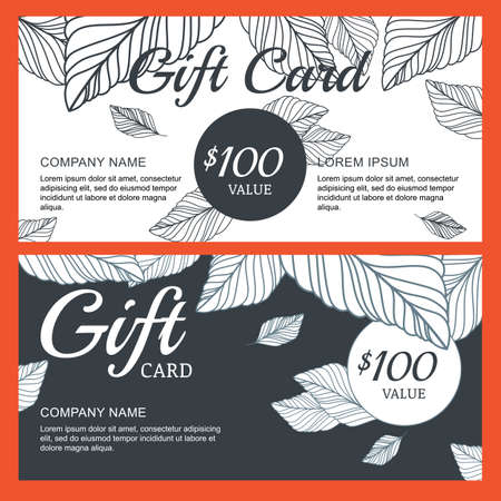 boutique shop: Vector gift voucher, card template with hand drawn autumn leaves background. Linear decorative black and white illustration. Concept for boutique, shop, fashion, beauty salon, flyer, banner design.