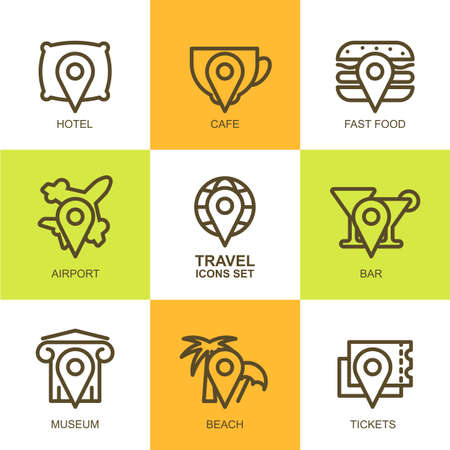 waypoint: Set of vector simple linear travel icons. Map symbols, waypoint, hotel, ticket, airplane, cafe, bar, museum, fast food, beach, globe, landmark. Concept for mobile apps, planning vacation, tourism.