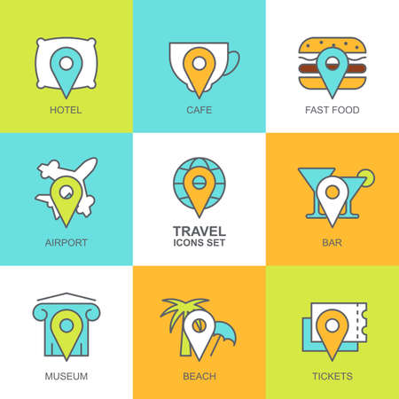waypoint: Set of vector flat travel icons. Map symbols, waypoint, hotel, ticket, airplane, cafe, bar, restaurant, museum, fast food, beach, globe, landmark. Concept for mobile apps, planning vacation, tourism.
