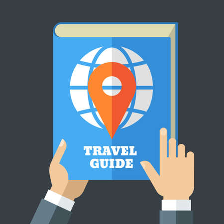 guia de viaje: Mens hand holding travel guide. Creative flat illustration of blue book, globe and waypoint map symbol. Concept for holidays, planning vacation, tourism.