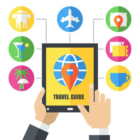 추상적 인 벡터 배경입니다. 남성 손에 태블릿을 들고입니다. 평면 여행 아이콘 및 기호 집합입니다. 여행 가이드, 모바일 앱, 계획 휴가, 관광, 온라인