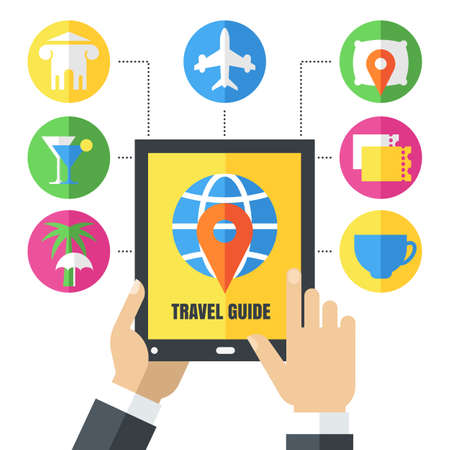 Abstract vector background. Mens hands holding tablet. Set of flat travel icons and symbols. Design concept for travel guide, mobile apps, planning vacation, tourism, online booking tickets, hotels.