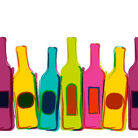 Abstract vector watercolor seamless background with colorful wine bottles. Concept for bar menu, party, alcohol drinks, holidays, wine list, flyer, brochure, poster, banner. Creative trendy design.