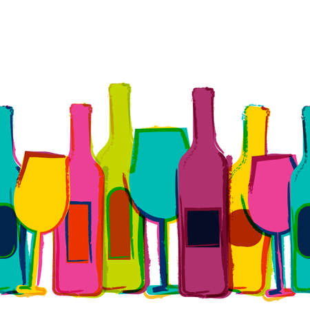 drinks: Vector watercolor seamless background, colorful wine bottles and glasses. Concept for bar menu, party, alcohol drinks, holidays, wine list, flyer, brochure, poster, banner. Creative trendy design.