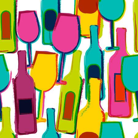 抽象的なベクトル水彩シームレス パターン、多色のワイングラス、ボトル。メニューのパーティー、アルコール飲料、祝日、ワイン、チラシ、パン
