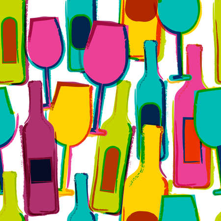 Abstract vector watercolor seamless pattern, multicolor wine glasses, bottles. Concept for bar menu, party, alcohol drinks, holidays, wine list, flyer, brochure, poster, banner. Trendy design.