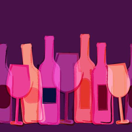 Resumen de vectores de la acuarela de fondo sin fisuras. Rojo, rosa, púrpura botellas de vino y vasos. Concepto creativo de menú de la barra, partido, bebidas alcohólicas, días de fiesta, lista de vinos, folleto, folleto, cartel, pancarta.