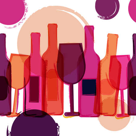 party drinks: Abstract seamless vector background. Red, pink wine bottles, glasses and watercolor blots. Concept for bar menu, party, alcohol drinks, holidays, wine list, flyer, brochure, poster, banner.
