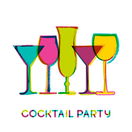 cocktails: Abstract colorful cocktail glasses, vector watercolor background. Concept for bar menu, party, alcohol drinks, wine list. Creative trendy design for  flyer, brochure, poster, banner. Illustration