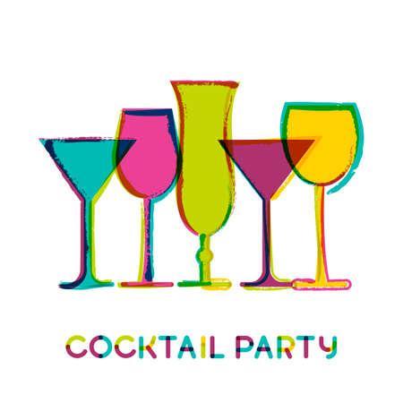 coquetel: Vidros de cocktail coloridos abstratos, fundo do vetor da aguarela. Conceito para o menu de bar, partido, bebidas alco Ilustração