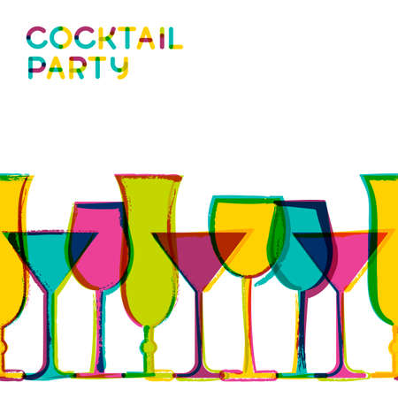 Multicolor cocktail glasses. Vector watercolor seamless background. Concept for bar menu, party, alcohol drinks, wine list. Creative trendy design for  flyer, brochure, poster, banner.  イラスト・ベクター素材