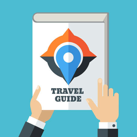 travel guide: Mens hand holding travel guide. Creative flat illustration of white book, compass and waypoint map symbol. Concept for holidays, planning vacation, tourism. Illustration