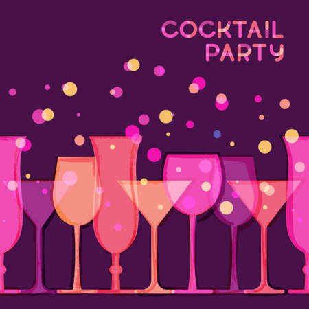 abstract pink: Abstract vector watercolor seamless background. Red, pink, purple glowing cocktail glass. Creative concept for bar menu, party, alcohol drinks, holidays, wine list, flyer, brochure, poster, banner. Illustration