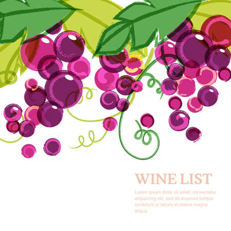 Pink ripe grape vine with green leaves. Abstract vector watercolor background with place for text. Concept for wine list, menu, cover, flyer, brochure, poster, banner, natural organic food.  イラスト・ベクター素材