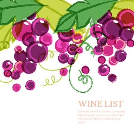 Roze rijp wijnstok met groene bladeren. Abstracte vector aquarel achtergrond met plaats voor tekst. Concept voor de wijnkaart, menu, dekking, flyer, brochure, poster, banner, natuurlijke biologische voeding.