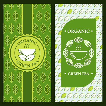 Set of vector backgrounds for label, package or banner. Seamless pattern with linear green tea leaves and cup. Logo icon design. Concept for cafe, menu, shop, flyer design, natural organic product.