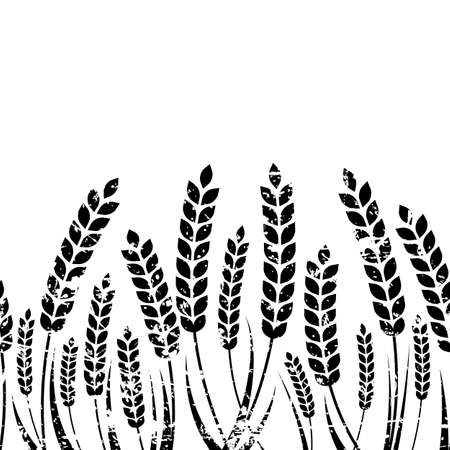 Vector seamless horizontal background with isolated ear of wheat. Black and white grunge texture. Abstract concept for organic products, harvest, grain, bakery, healthy food. Vettoriali