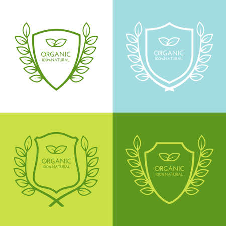 environment protection: Set of vector simple linear logo icon with shield and leaves wreath. Abstract decorative frame design. Concept for green technology, cleantech, protection environment, ecology, heraldic emblem.